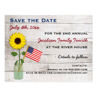 Sunflower July 4th Party or Reunion Save the Date Postcard
