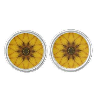 sunflower kaleidoscope cufflinks