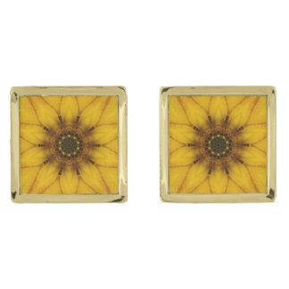 sunflower kaleidoscope gold finish cufflinks