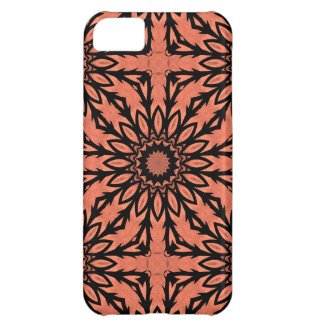 Sunflower kaleidoscope in peach and black iPhone 5C case