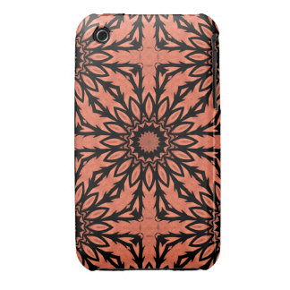 Sunflower kaleidoscope in peach and black iPhone 3 case