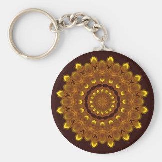 Sunflower Kaleidoscope Mandala Basic Round Button Key Ring