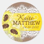 Sunflower Lace Burlap Wedding Label Round Sticker