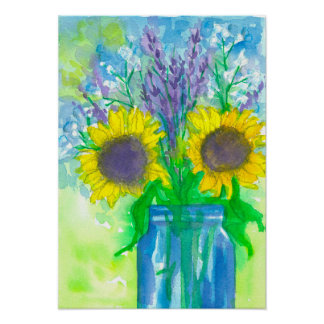 Sunflower Lavender Bouquet Poster