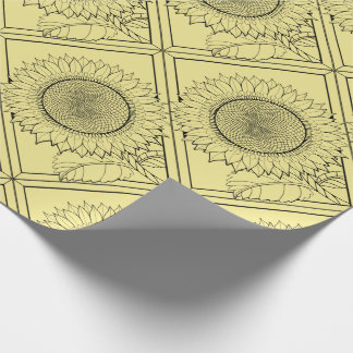 Sunflower Line Art Design Wrapping Paper