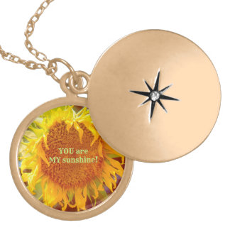 SUNFLOWER LOCKET/ YOU ARE MY SUNSHINE/CUSTOMIZABLE GOLD PLATED NECKLACE