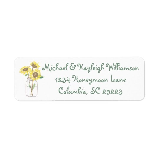 Sunflower Love Return Address Return Address Label