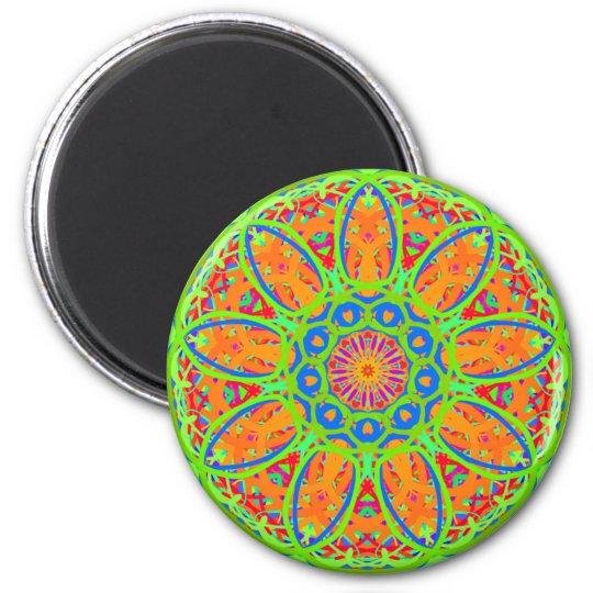 Sunflower Mandala Design 6 Cm Round Magnet
