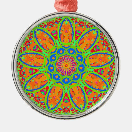 Sunflower Mandala Design Metal Ornament