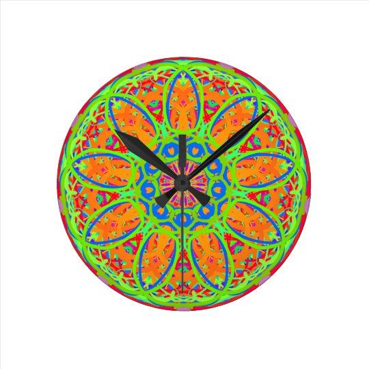 Sunflower Mandala Design Round Clock