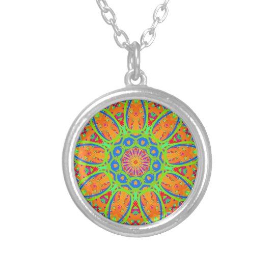 Sunflower Mandala Design Silver Plated Necklace