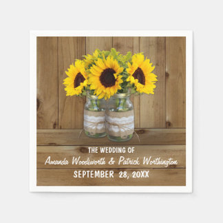 Sunflower Mason Jar Burlap + Lace Wedding Napkins Disposable Serviette