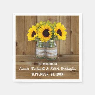 Sunflower Mason Jar Burlap + Lace Wedding Napkins Paper Napkin