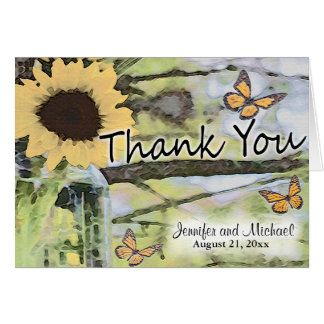 Sunflower Mason Jar Butterfly Thank You Card