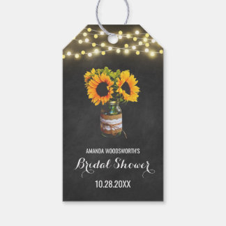 Sunflower Mason Jar Chalkboard Bridal Shower Gift Tags