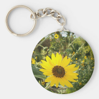 Sunflower Meadow Basic Round Button Key Ring