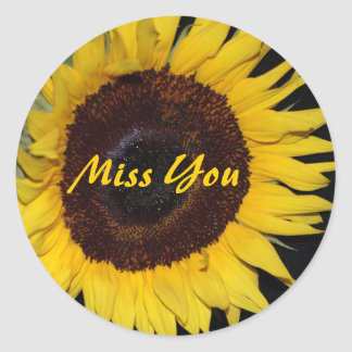 Sunflower, Miss You Classic Round Sticker