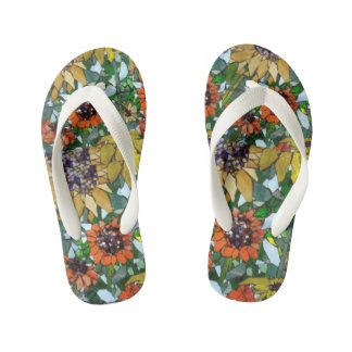 Sunflower Mosaic Girls Flip Flops Thongs