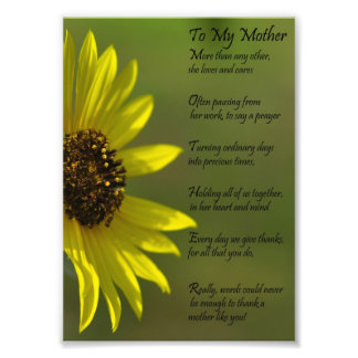 Sunflower Mother Appriciation Thank You Poem Print Photo Print
