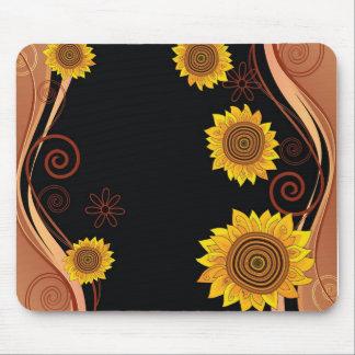 Sunflower Mousepad on Black