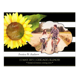 Sunflower n Stripes Wedding Save the Date Postcard