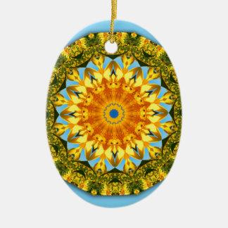 Sunflower Nature, Flower-Mandala (Blumen-Mandala) Ceramic Oval Decoration