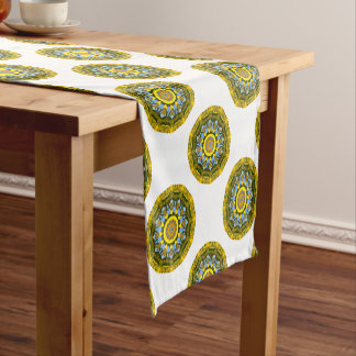 Sunflower Nature, Flower-Mandala (Blumen-Mandala) Short Table Runner