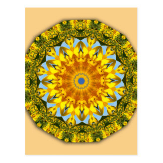 Sunflower Nature, Flower-Mandala Postcard