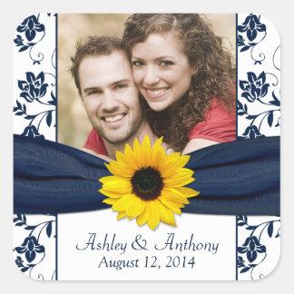 Sunflower Navy and White Damask Wedding Stickers