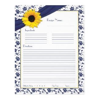 Sunflower Navy Blue Floral Binder Recipe Inserts 21.5 Cm X 28 Cm Flyer