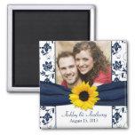 Sunflower Navy Blue White Damask Wedding Magnet