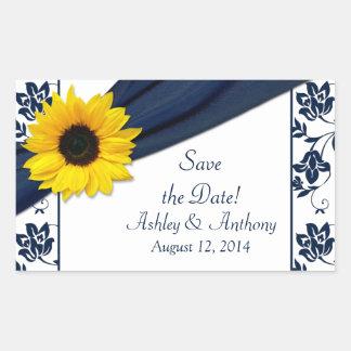 Sunflower Navy Blue White Damask Wedding Stickers