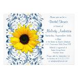 Sunflower Navy Blue White Floral Bridal Shower Custom Invites