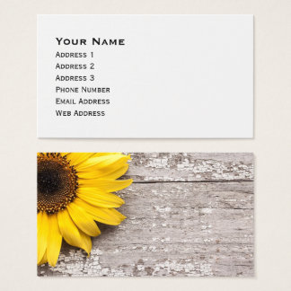 Sunflower on a Wooden Table Business Card