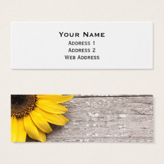 Sunflower on a Wooden Table Mini Business Card