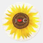 Sunflower on Birch Bark Rustic Country Wedding Classic Round Sticker