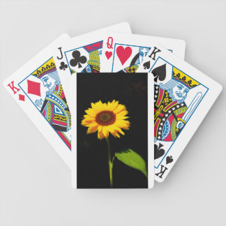 Sunflower on Black Background Bicycle Playing Cards