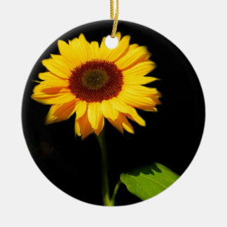 Sunflower on Black Background Ceramic Ornament