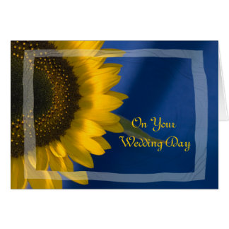 Sunflower on Blue Blended Family Wedding Card Greeting Card