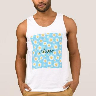 Sunflower on blue, girly, cute, daisy,trendy,moder tank tops