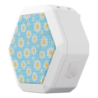 Sunflower on blue, girly, cute, trendy,modern,fun, white boombot rex bluetooth speaker