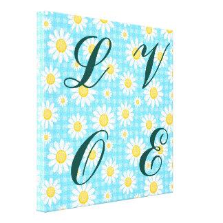 Sunflower on blue, girly, cute, trendy,modern,fun, gallery wrap canvas