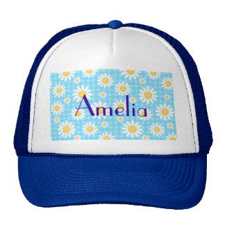 Sunflower on blue pattern fun cute chic modern hats