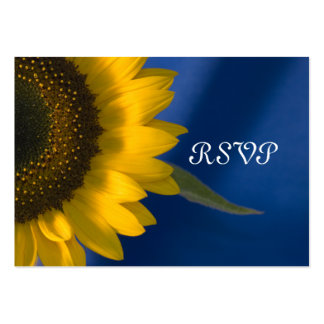 Sunflower on Blue Wedding RSVP Response Card Pack Of Chubby Business Cards
