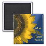 Sunflower on Blue Wedding Square Magnet