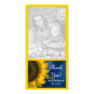 Sunflower on Blue Wedding Thank You Photo Card