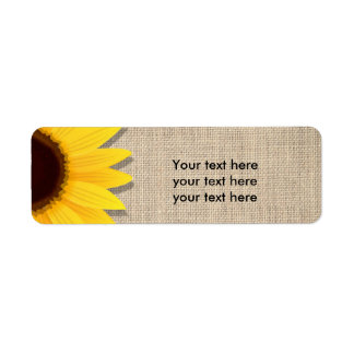 Sunflower on Burlap Rustic Country Address Labels