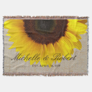 Sunflower on Burlap Rustic Country Wedding Custom Throw Blanket