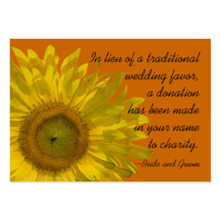 Sunflower on Orange Wedding Charity Favor Card Pack Of Chubby Business Cards