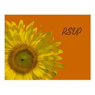 Sunflower on Orange Wedding RSVP Response Postcard